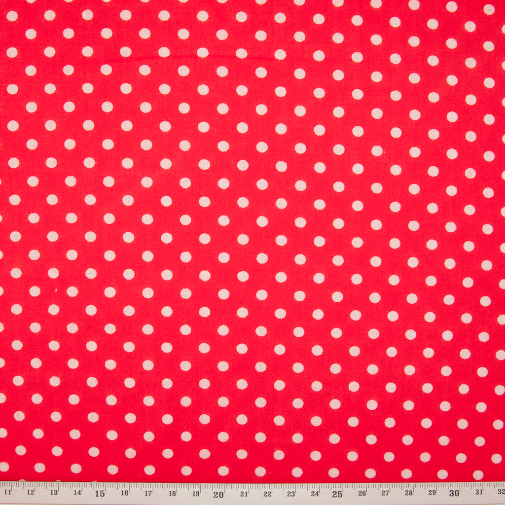 Pea Spot - 4mm White Spots on Red
