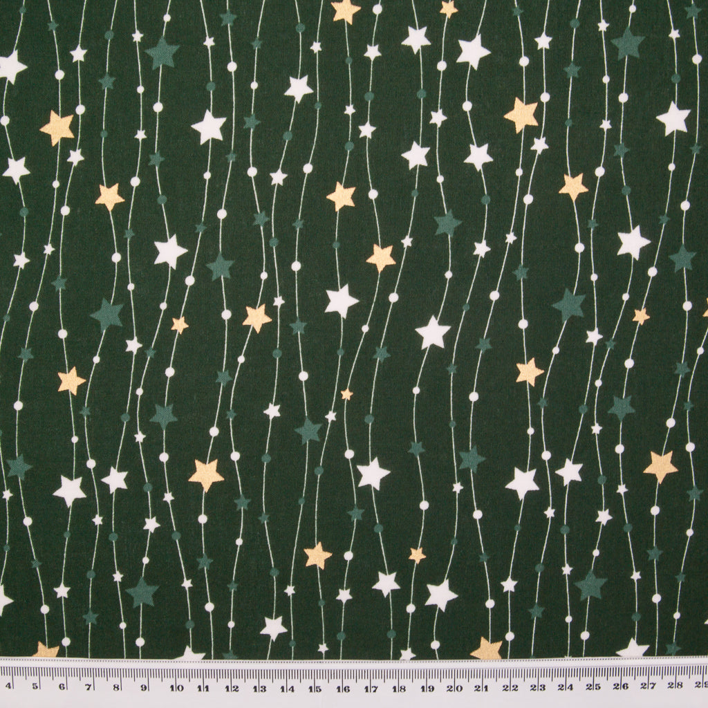 Metallic Gold Christmas Star String on Green - 100% Cotton