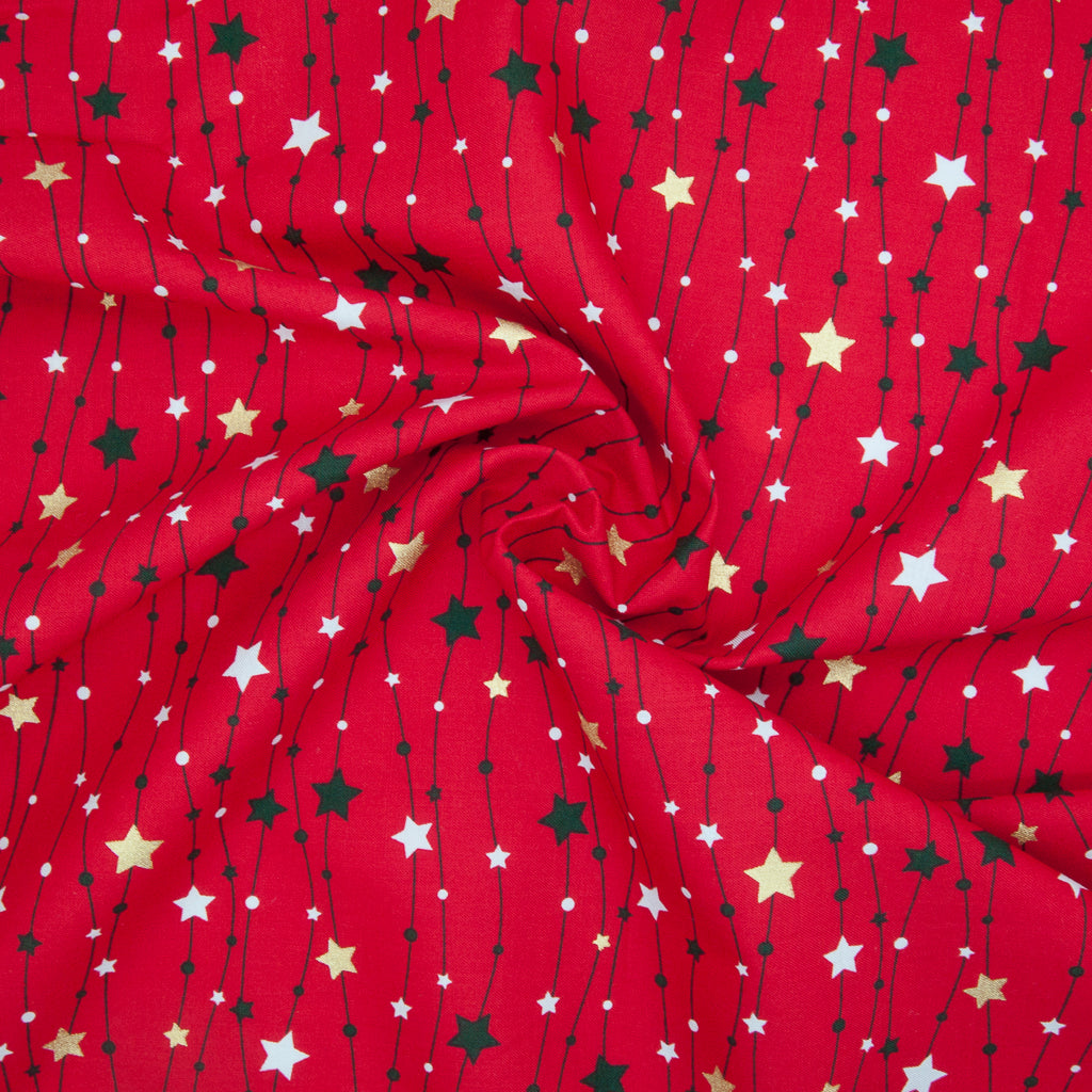 Metallic Gold Christmas Star String on Red - 100% Cotton