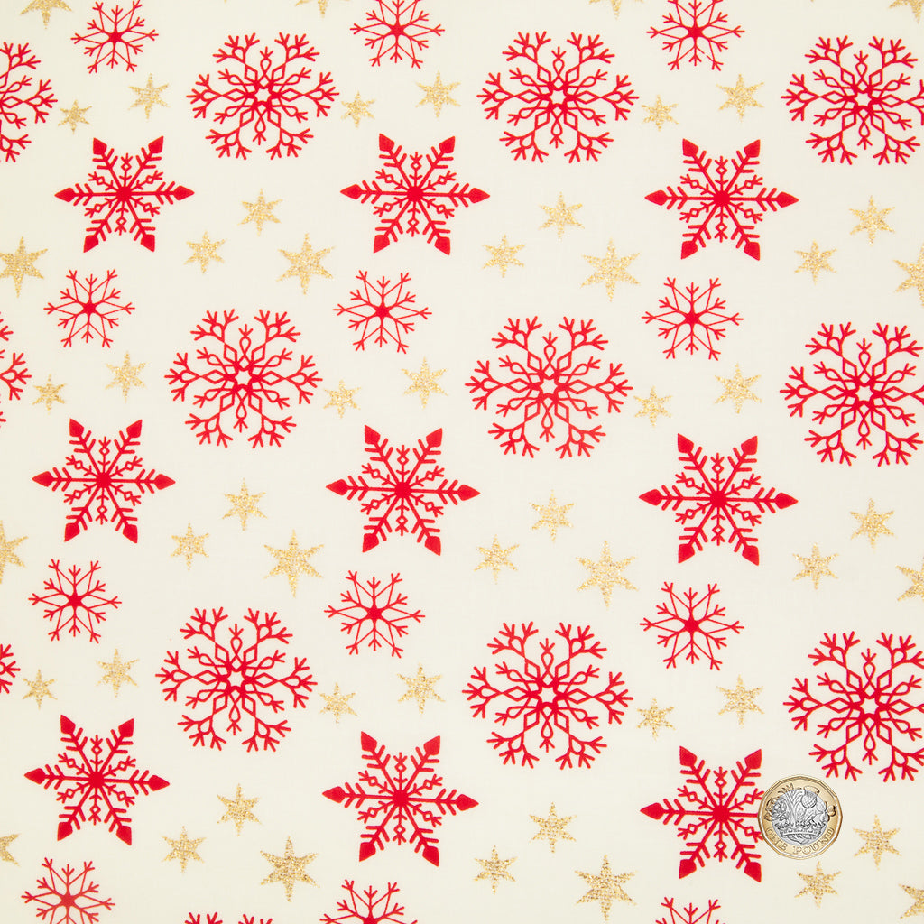 Christmas Glitter Fat Quarter Bundle - Reindeer & Trees - Red