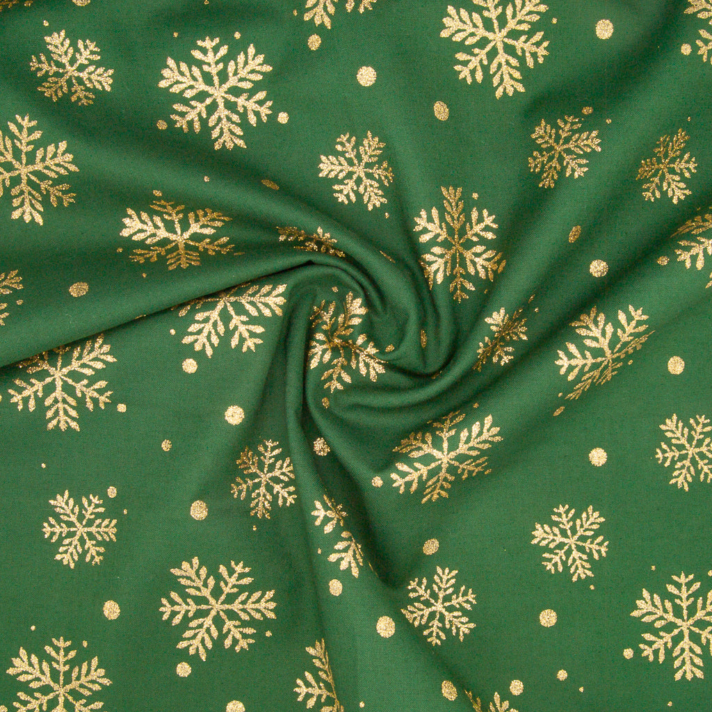 Christmas Glitter Cotton - Snowflakes on Green - 100% Cotton Fabric