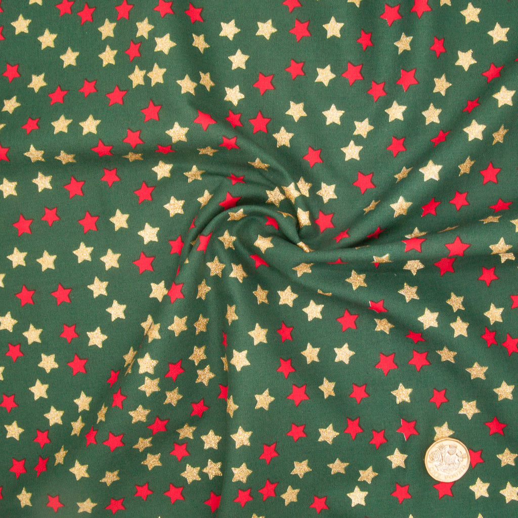 Christmas Glitter Cotton - Red & Gold Star on Green - 100% Cotton Fabric