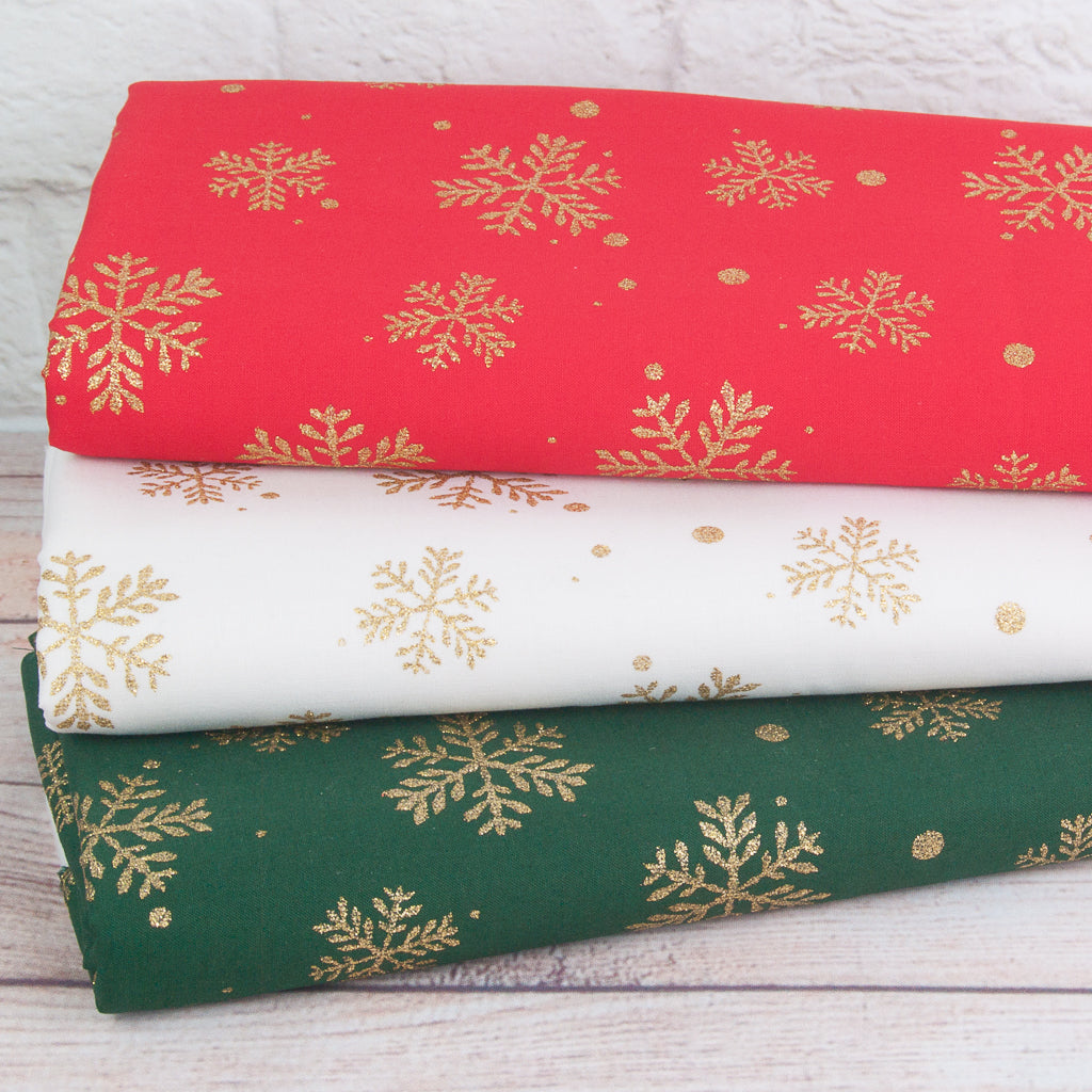 Rose & Hubble Christmas Glitter Fat Quarter Bundle - Snowflakes