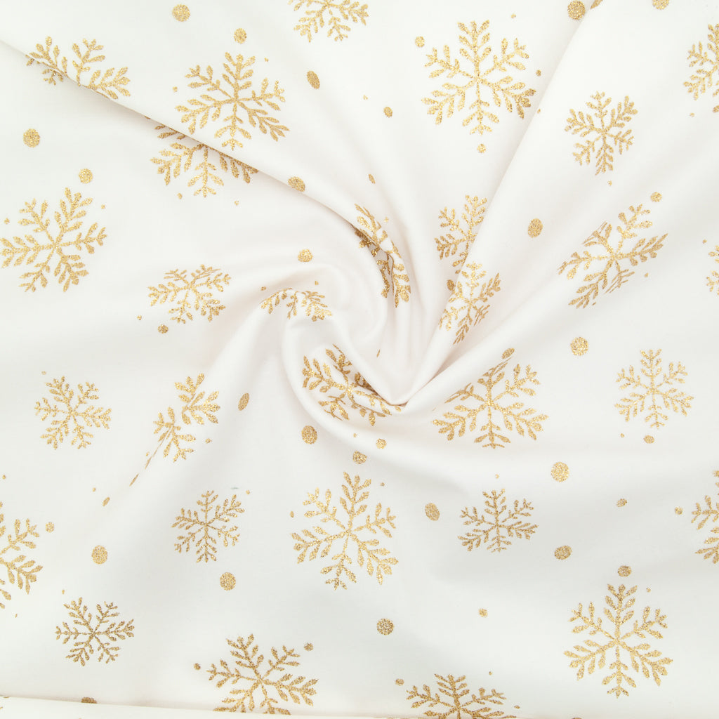 Christmas Glitter Cotton - Snowflakes on Ivory - 100% Cotton Fabric