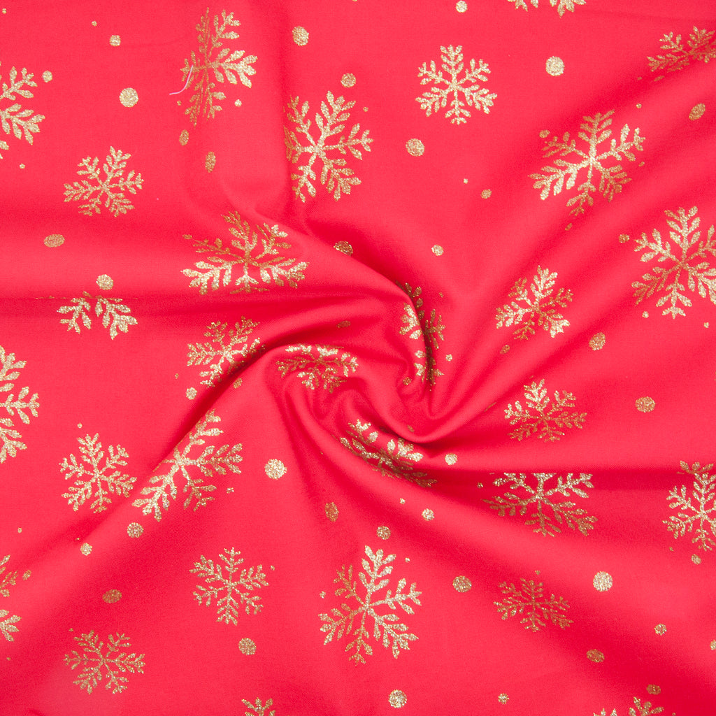 Christmas Glitter Cotton - Snowflake on Red - 100% Cotton Fabric