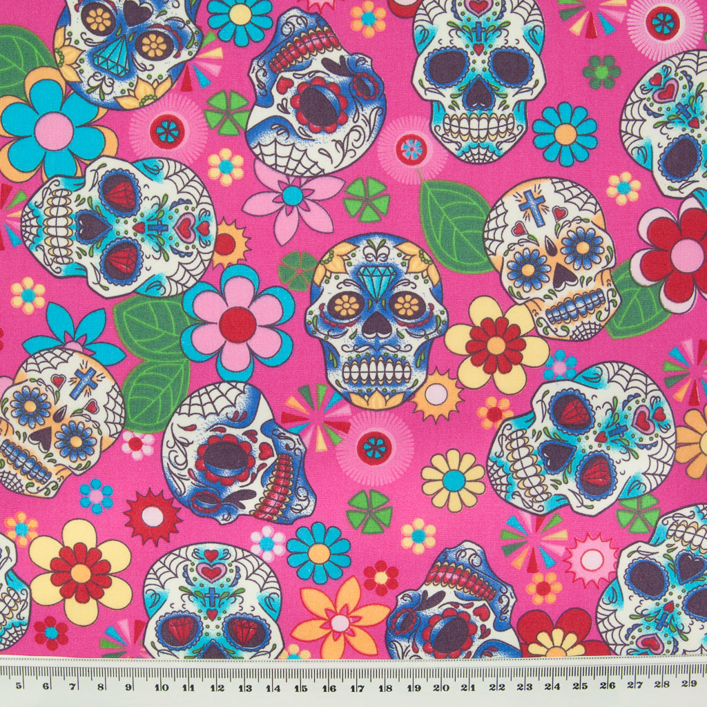Day of the Dead on Cerise by Rose & Hubble - 100% Cotton Poplin