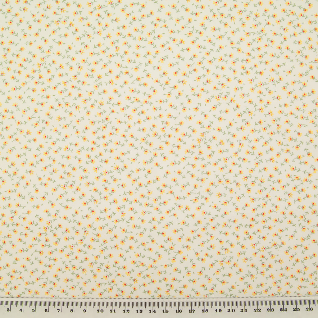 Rose & Hubble - Ditsy Betsy Floral in Yellow - 100% Cotton Poplin