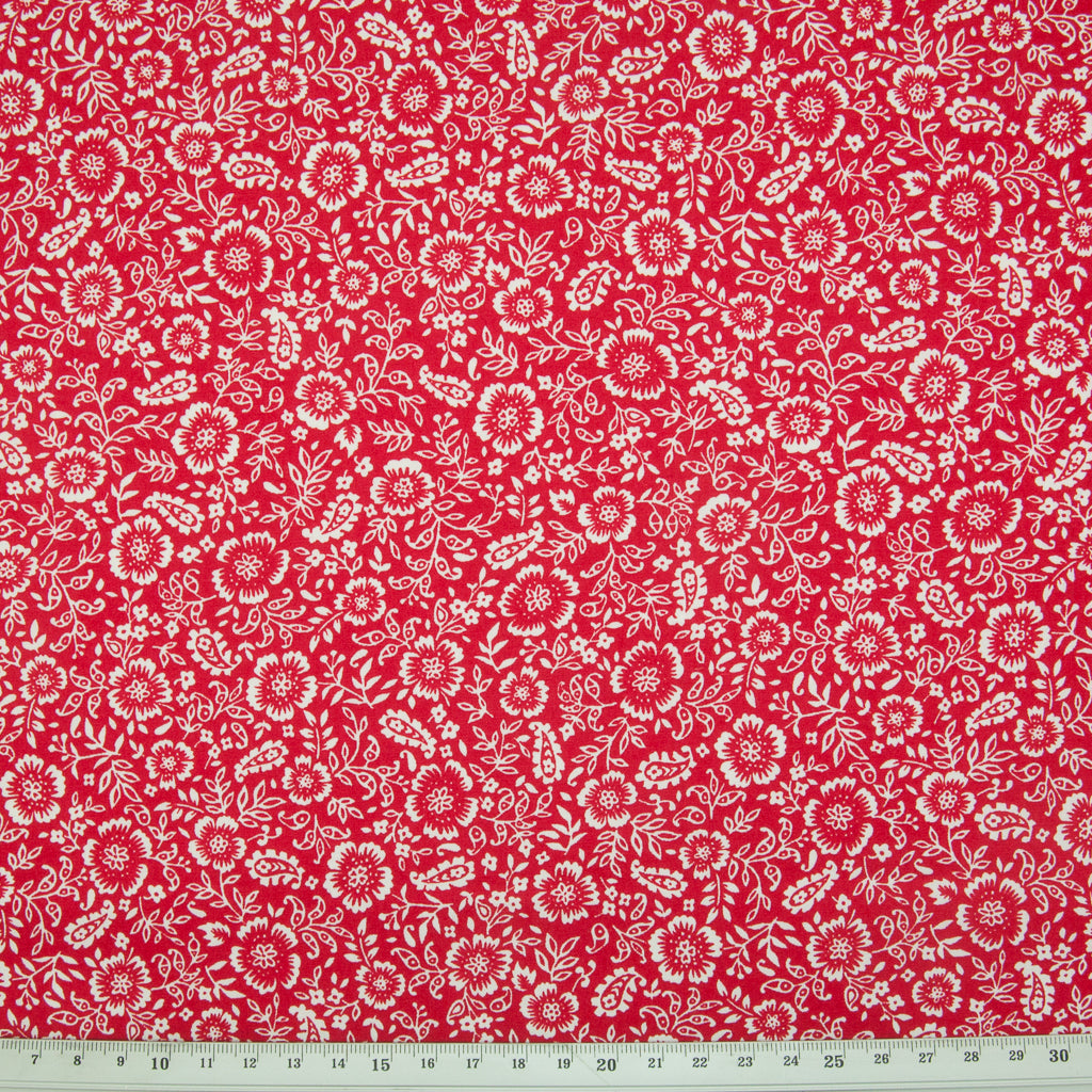 Rose & Hubble - Ditsy White Flower on Red - 100% Cotton Poplin
