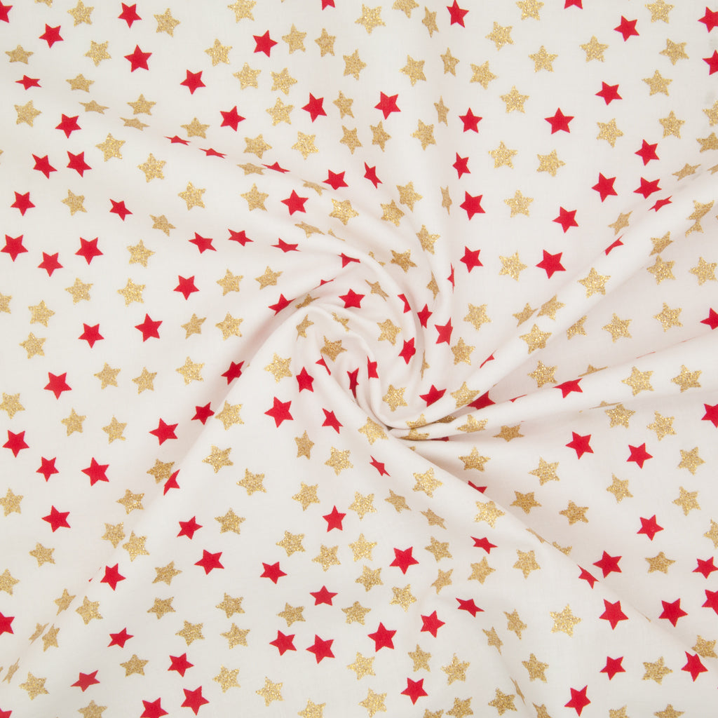 Christmas Glitter Cotton - Red & Gold Star on Ivory - 100% Cotton Fabric
