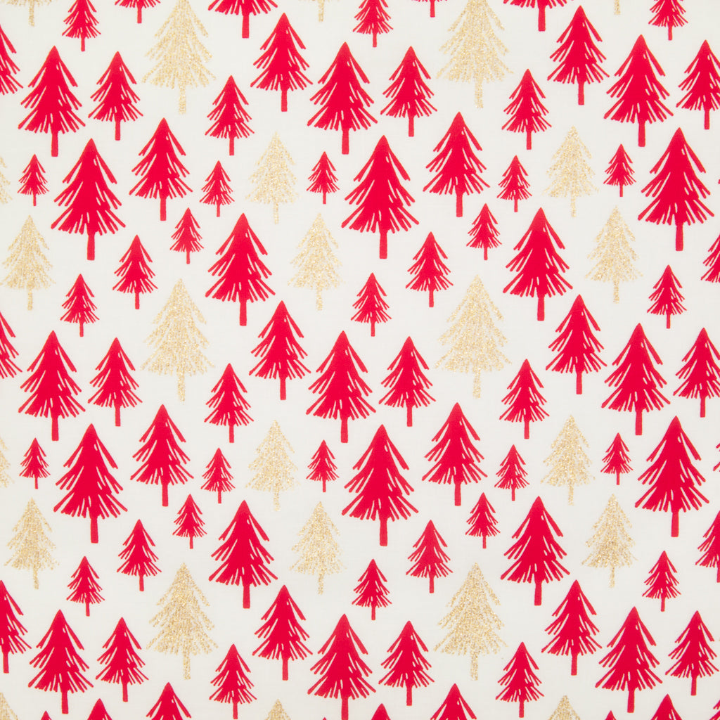 Christmas Glitter Cotton - Red & Gold Trees on Ivory - 100% Cotton Fabric