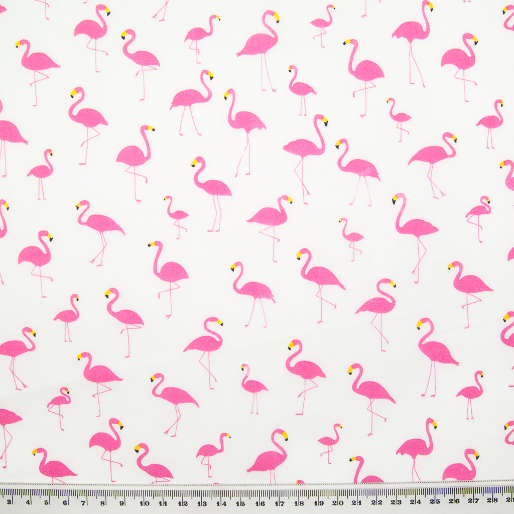 Flamingo on White by Rose & Hubble - 100% Cotton Poplin