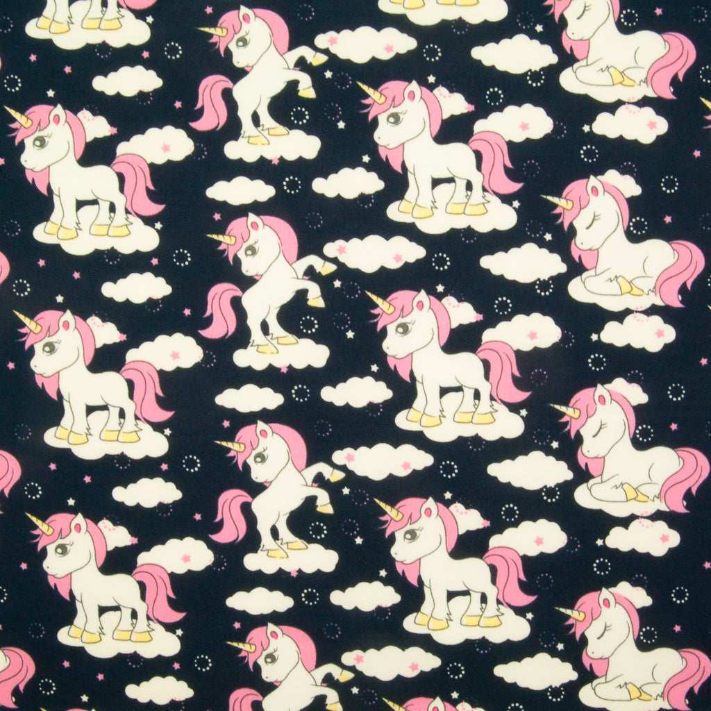 Unicorn on Navy by Rose & Hubble - 100% Cotton Poplin