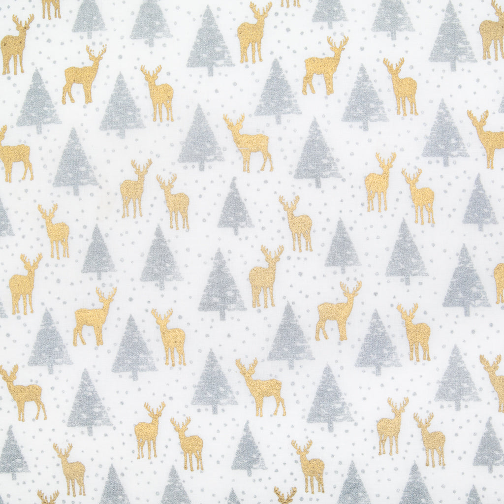 Small gold reindeer and silver christmas trees printed on white cotton fabric