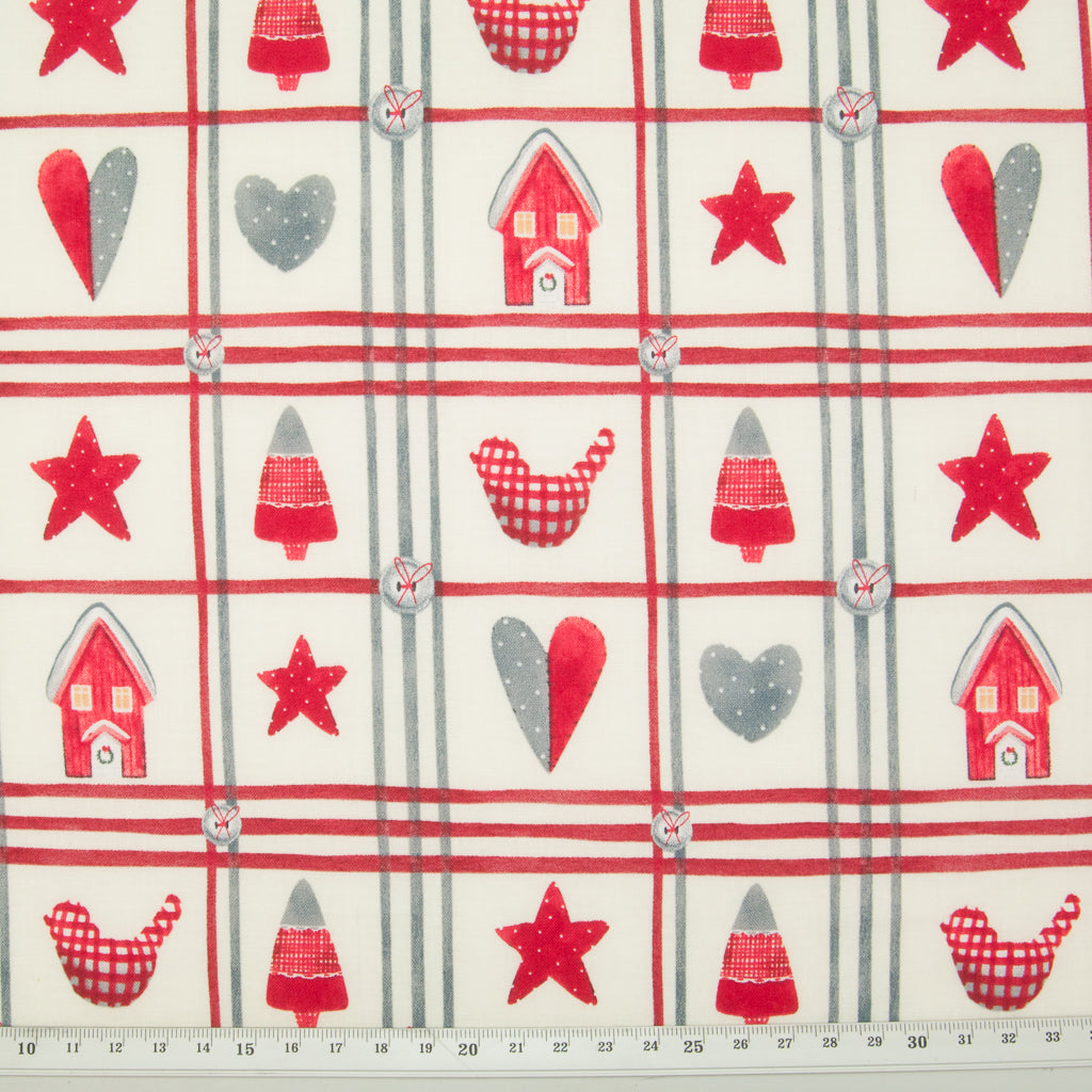 Red & Grey Stars & Hearts on Ivory - 100% Cotton Fabric