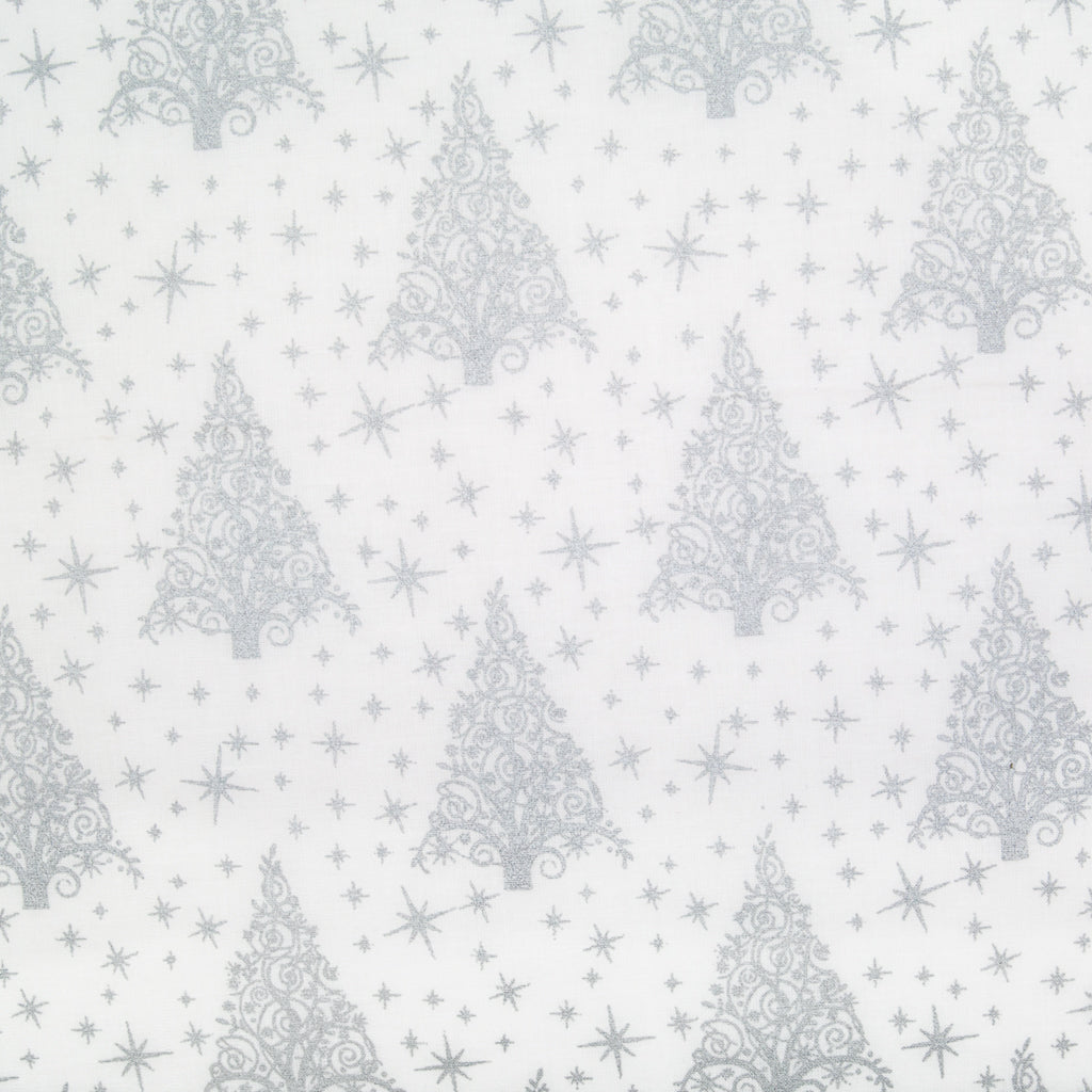 Large christmas trees and small stars in silver lacquer printed on a white cotton fabric