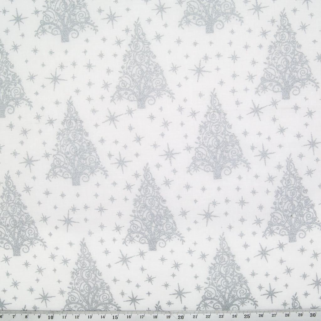 Metallic Silver Christmas Trees on White - 100% Cotton Fabric