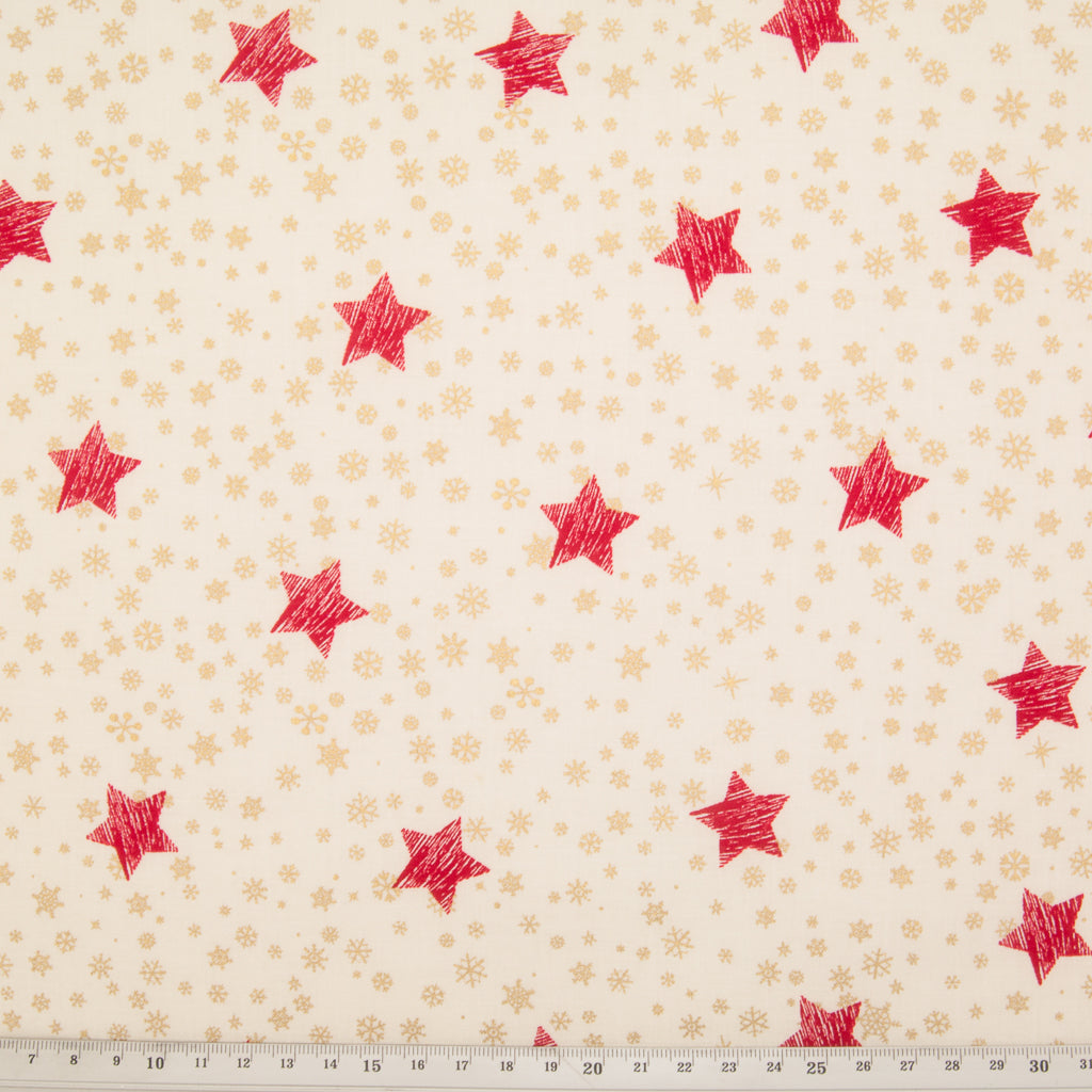 Red Star & Gold Snowflake on Ivory - 100% Cotton Fabric