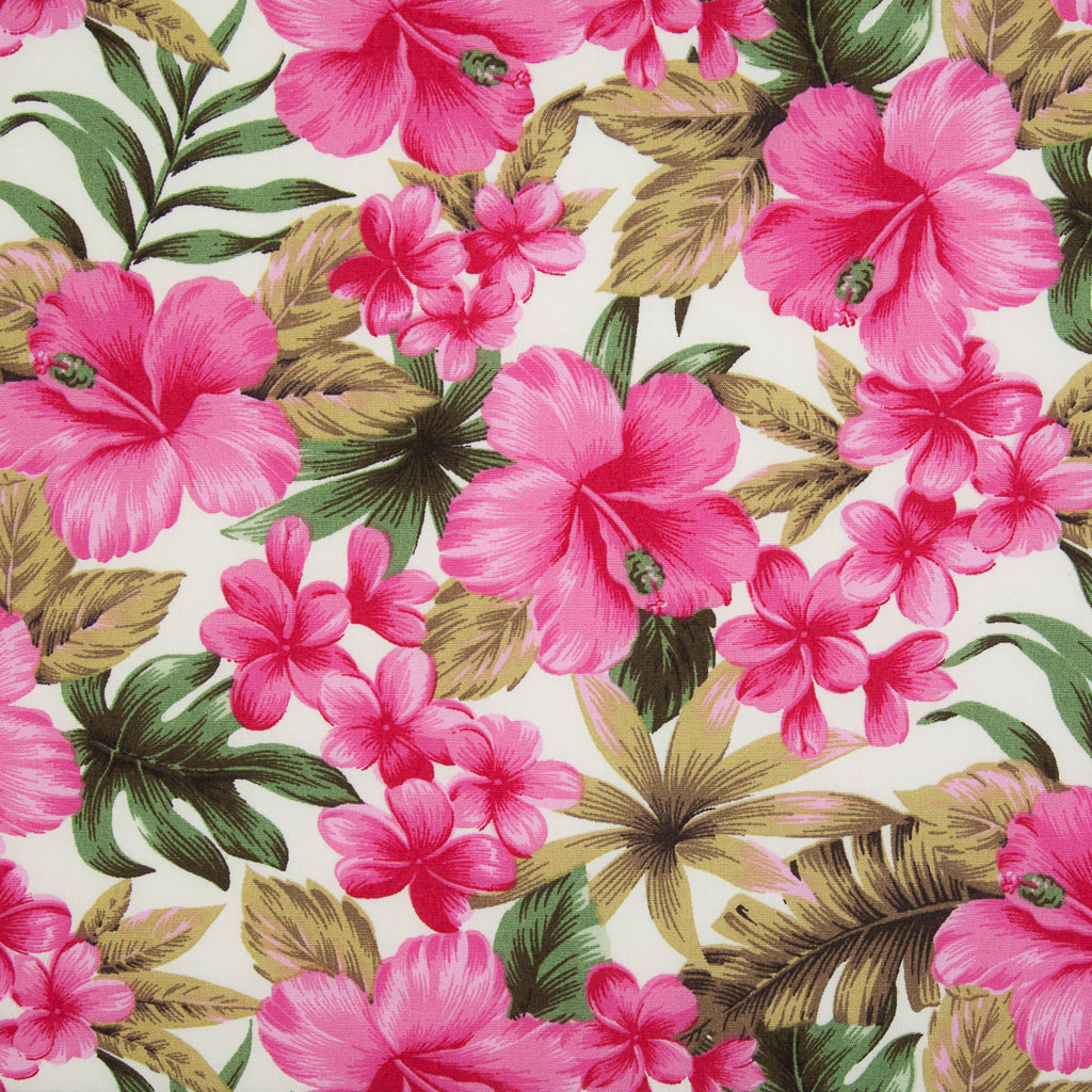 Rose & Hubble - Tropical Pink Floral - 100% Cotton Poplin