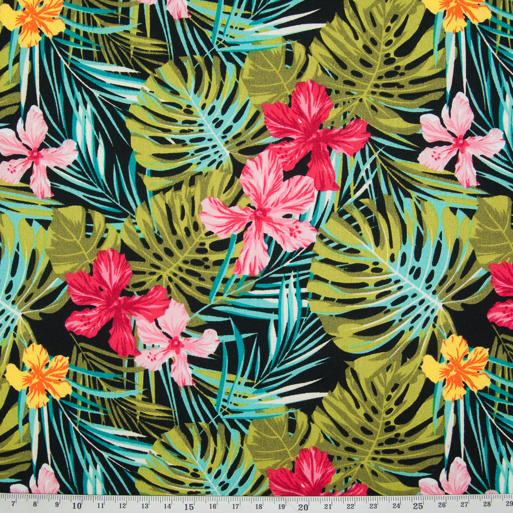 Rose & Hubble - Tropical Lily on Black - 100% Cotton Poplin
