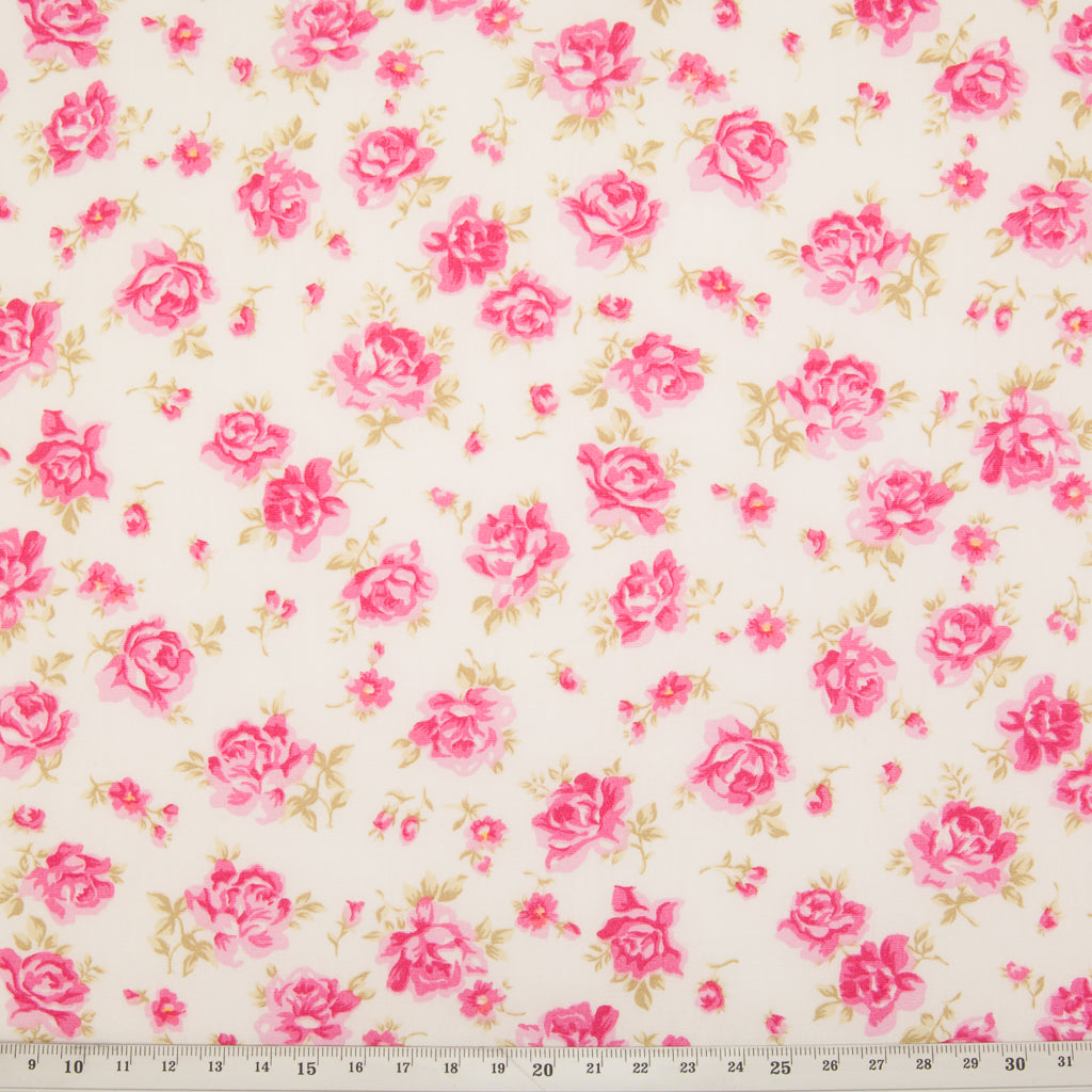 Rose & Hubble - Vintage Dusky Rose - 100% Cotton Poplin - Ivory