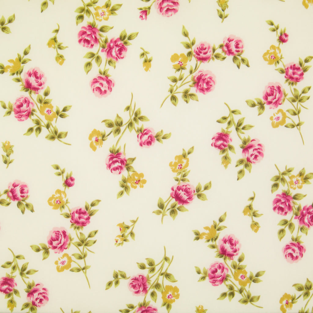 Rose & Hubble - Pink Rose on Cream - 100% Cotton Poplin