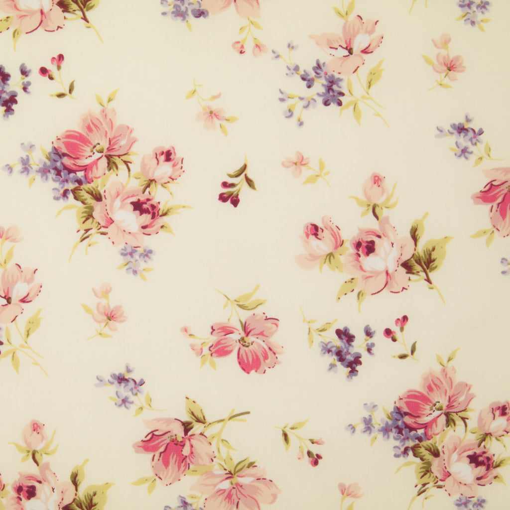 Rose & Hubble - Sophia Rose on Cream - 100% Cotton Poplin
