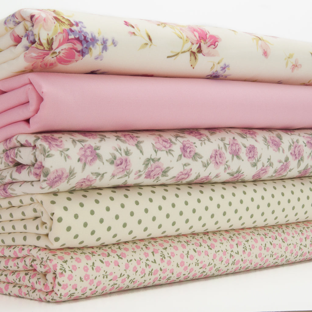 Florence Rose & Spot Bundle - Rose & Hubble - 100% Cotton Fat Quarter Bundle - Pink
