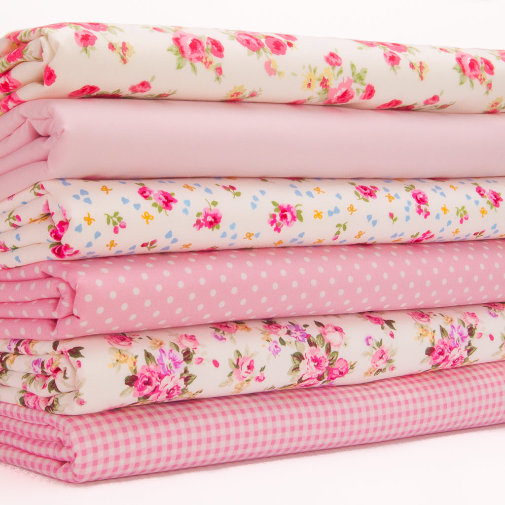 Rose, Spot & Check Bundle - Rose & Hubble - 100% Cotton Fat Quarter Bundle - Pink