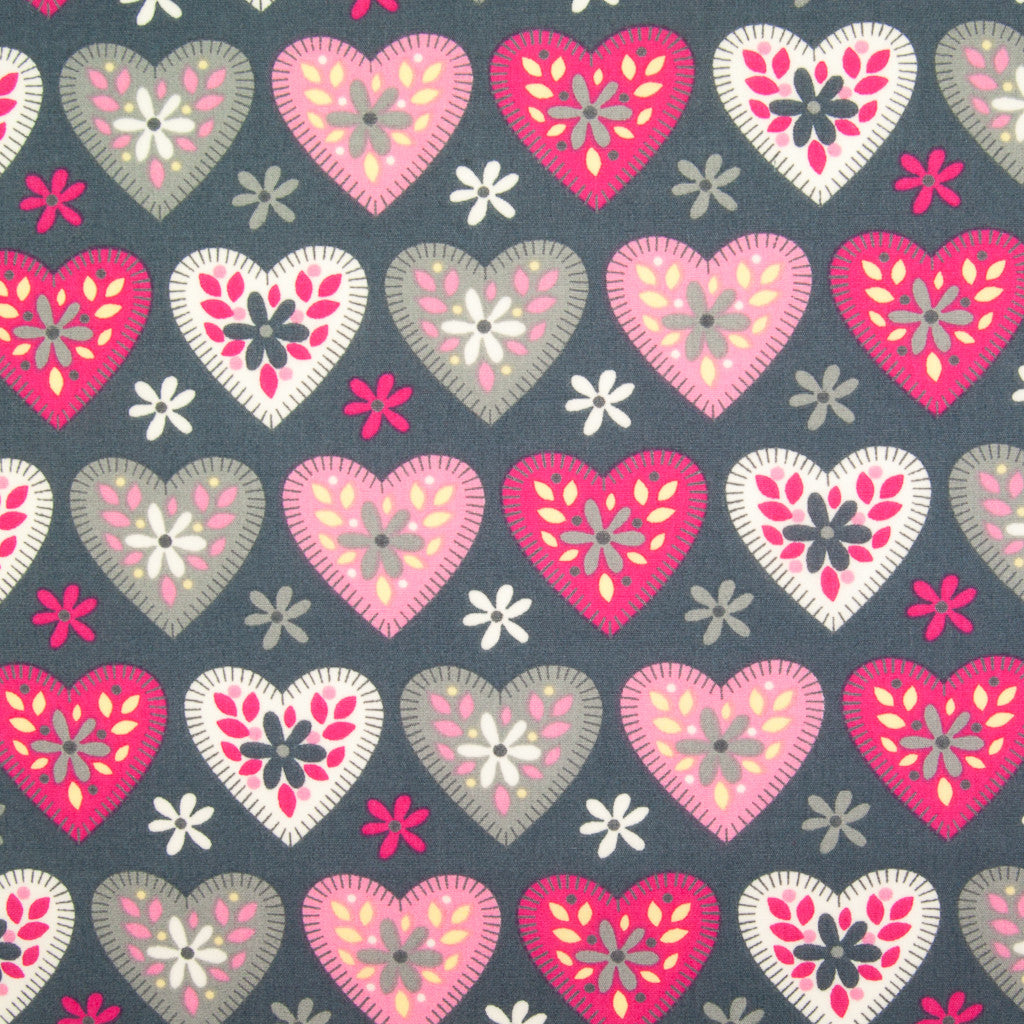 Hearts & Daisies by Rose & Hubble - 100% Cotton Poplin - Grey