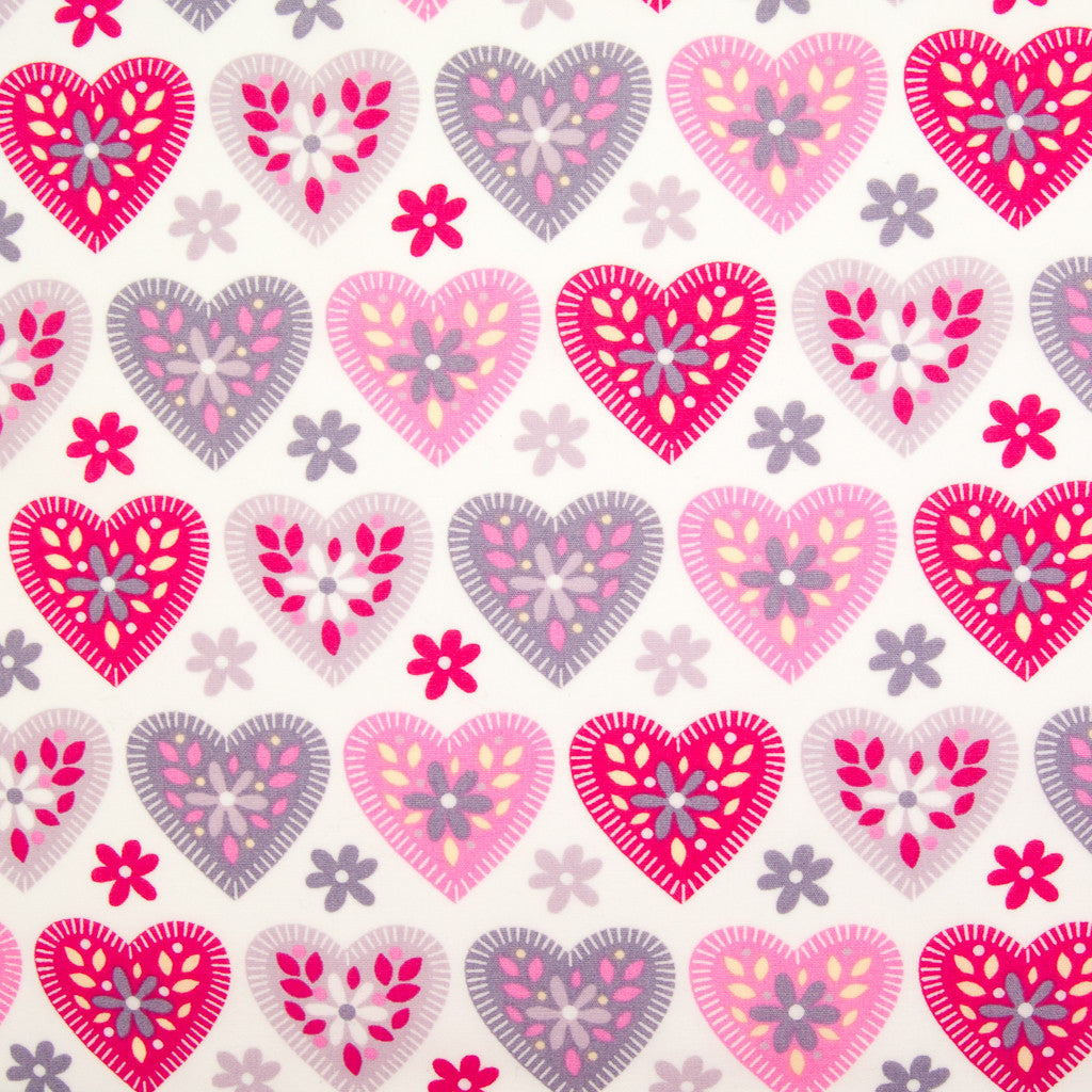 Hearts & Daisies by Rose & Hubble - 100% Cotton Poplin - Pink