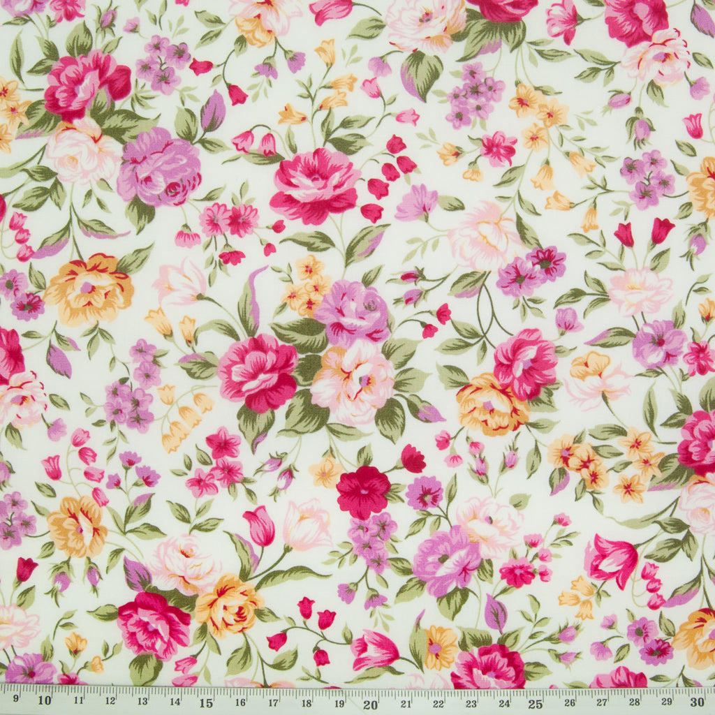 Rose & Hubble - Pink & Lilac Rose - 100% Cotton Poplin
