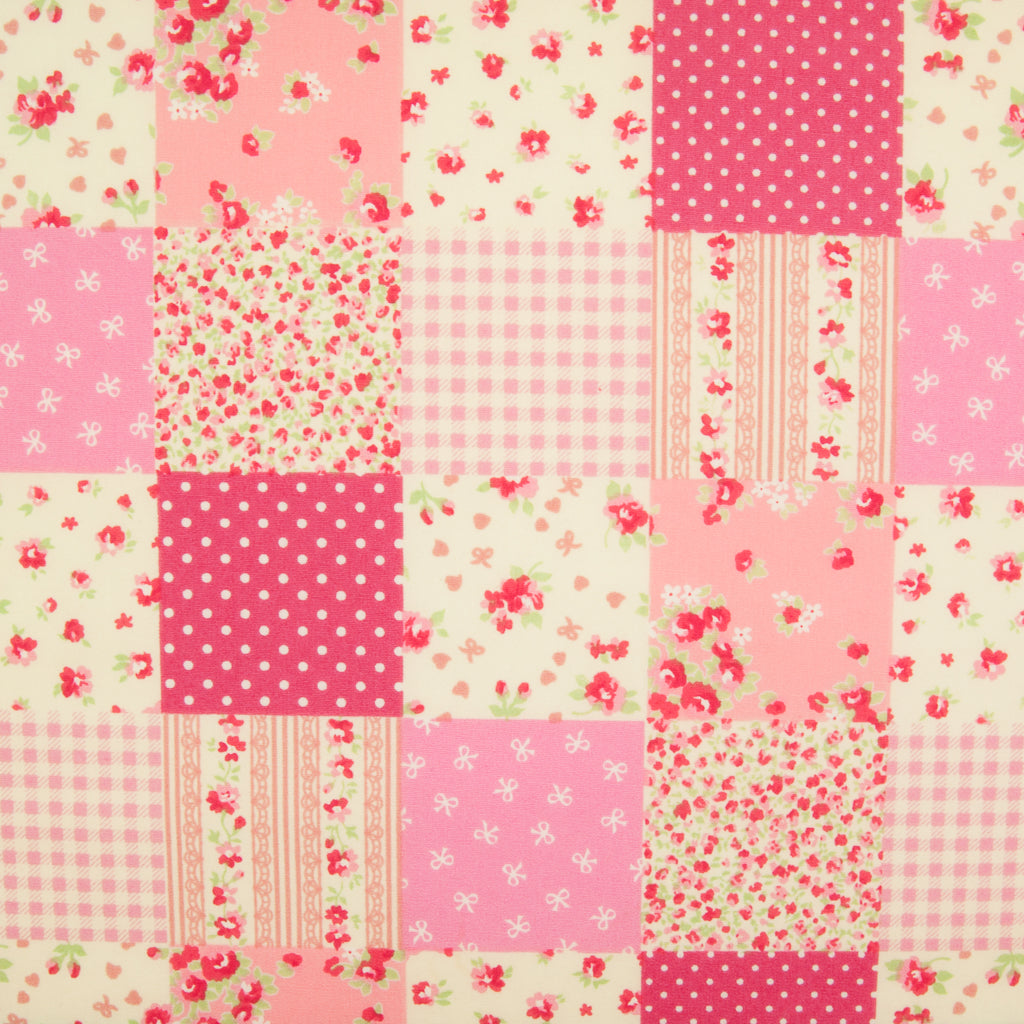 Rose & Hubble Pink Patchwork -  100% Cotton Poplin