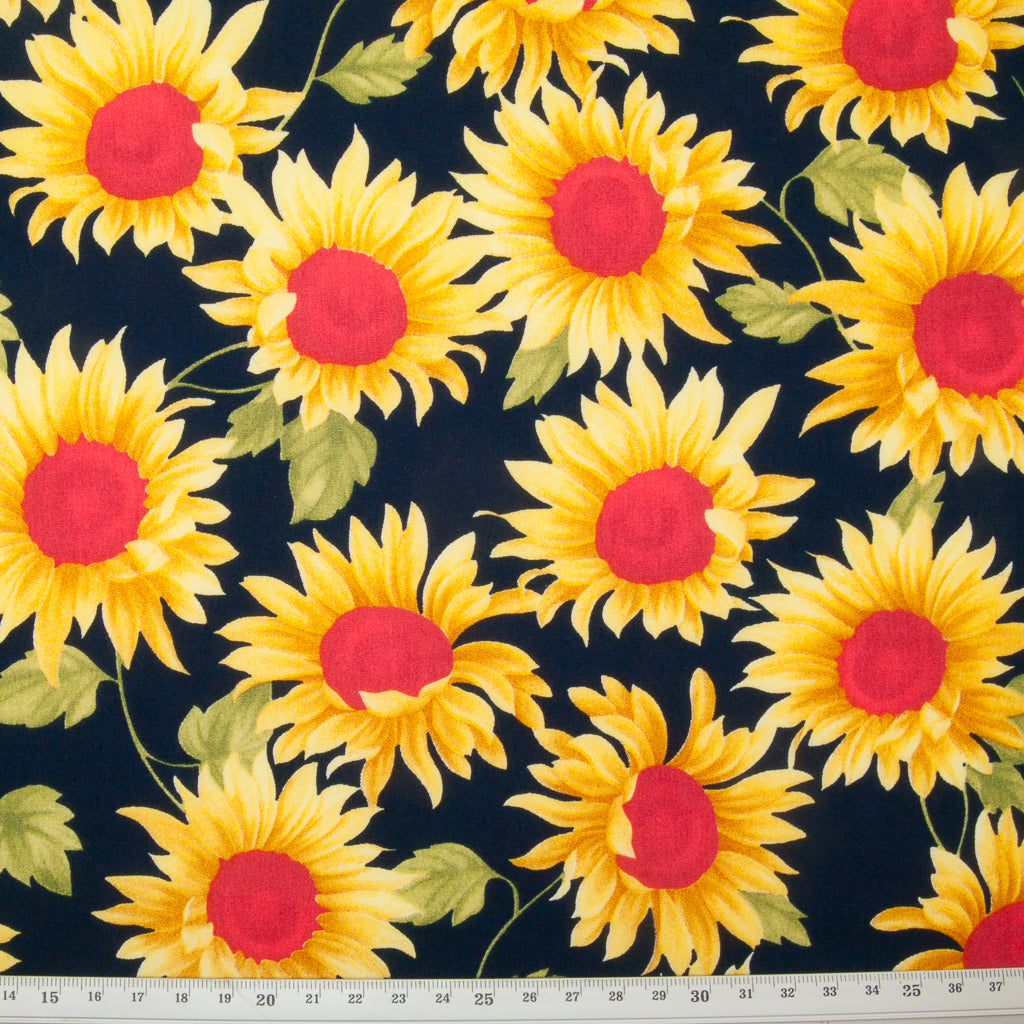 Sunflowers by Rose & Hubble - 100% Cotton Poplin - Navy Blue