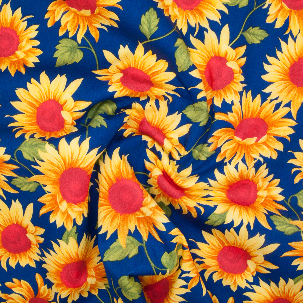 Sunflowers by Rose & Hubble - 100% Cotton Poplin - Royal Blue