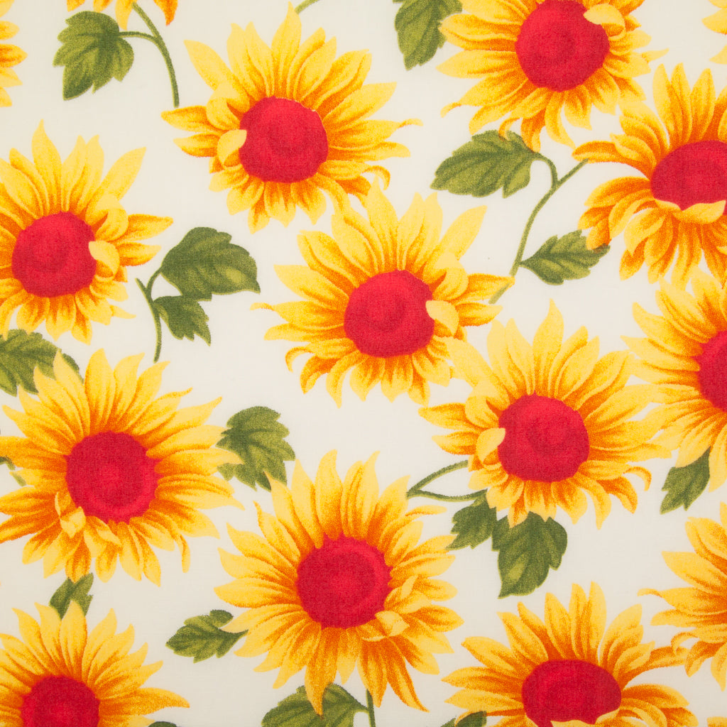 Sunflowers by Rose & Hubble - 100% Cotton Poplin - White