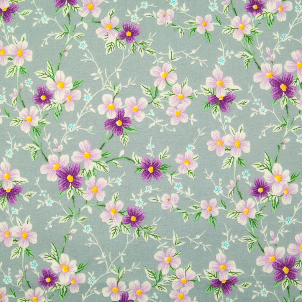 Rose & Hubble - Floral Lizzie on Grey - 100% Cotton Poplin