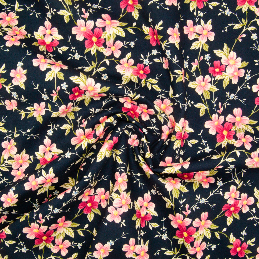 Rose & Hubble - Floral Lizzie on Navy - 100% Cotton Poplin