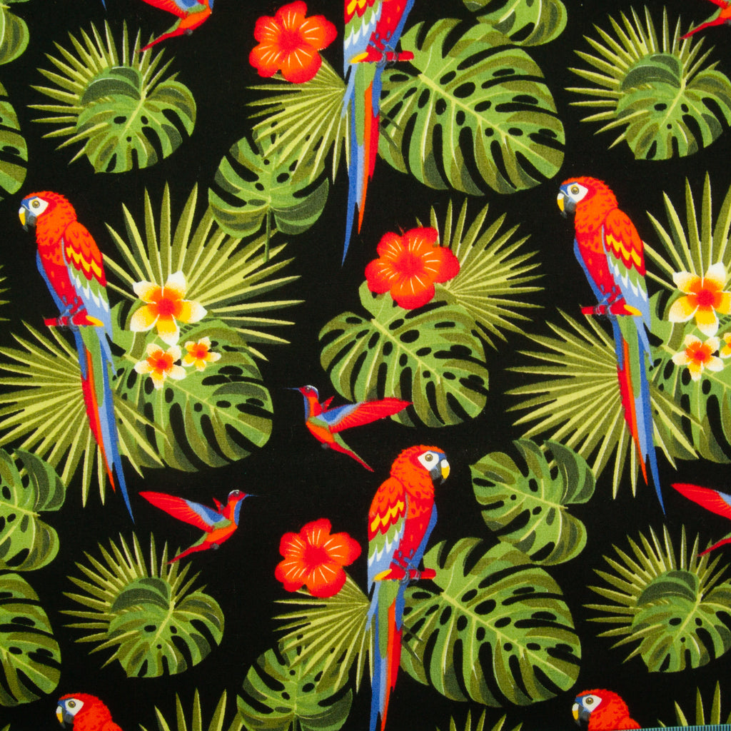 Rose & Hubble - Tropical Parrot on Black - 100% Cotton Poplin