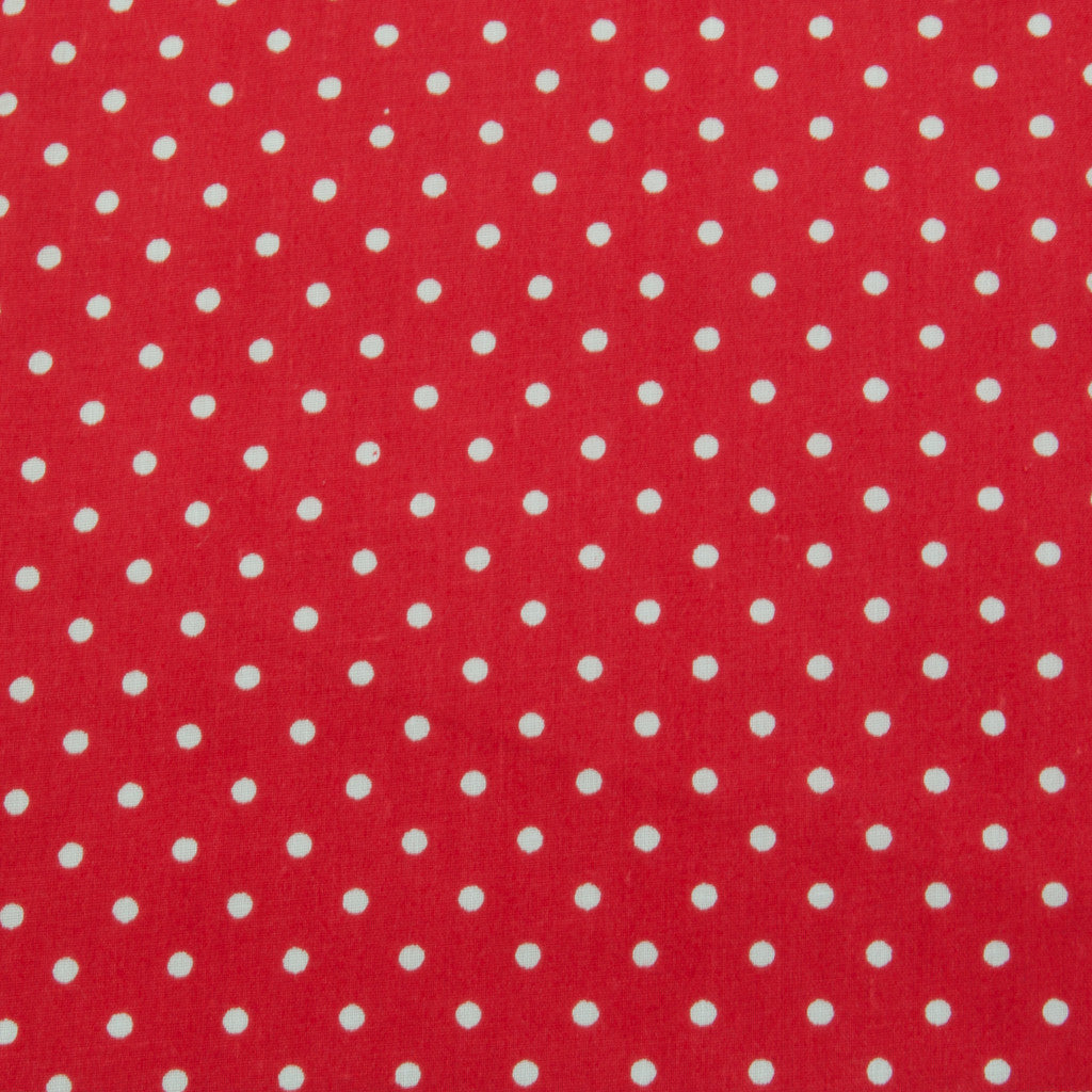 Dotty Spotty - 3mm White Spots on Red