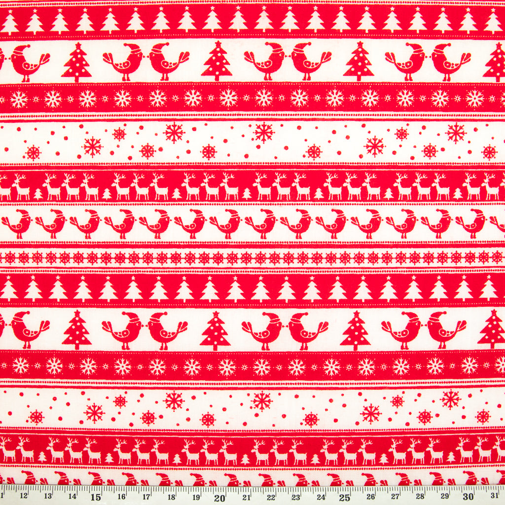 Scandinavian Kissing Birds - Christmas Polycotton