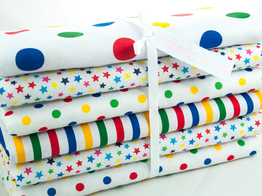 Fat Quarter Bundle of 6 - Stars, Spots and Stripes - Primary Colours