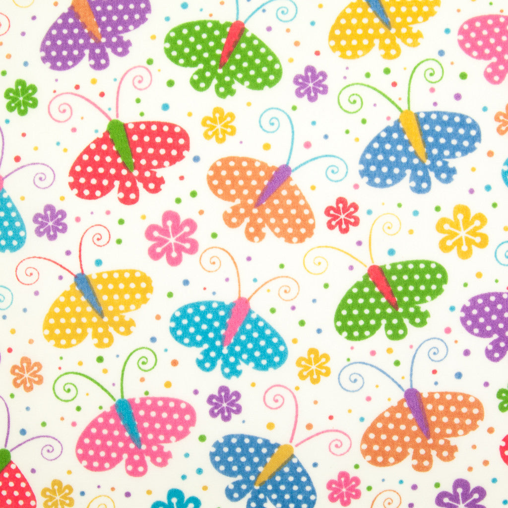 Spotty Butterflies - Polycotton Fabric