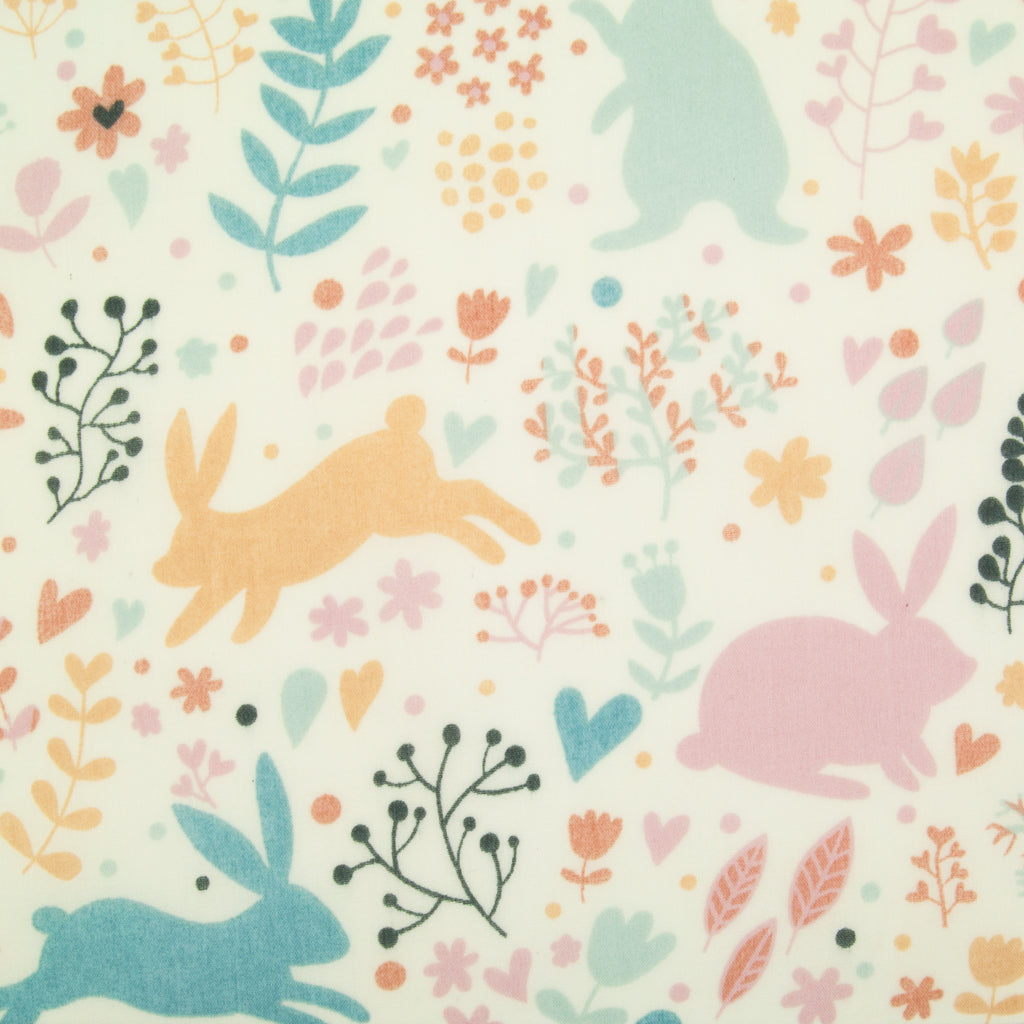 Watercolour Easter Bunny Rabbits Polycotton