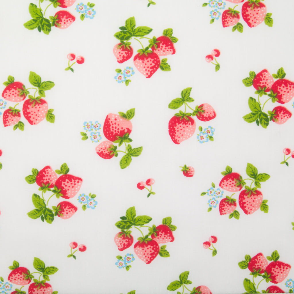 Large Strawberries On White Polycotton Fabric