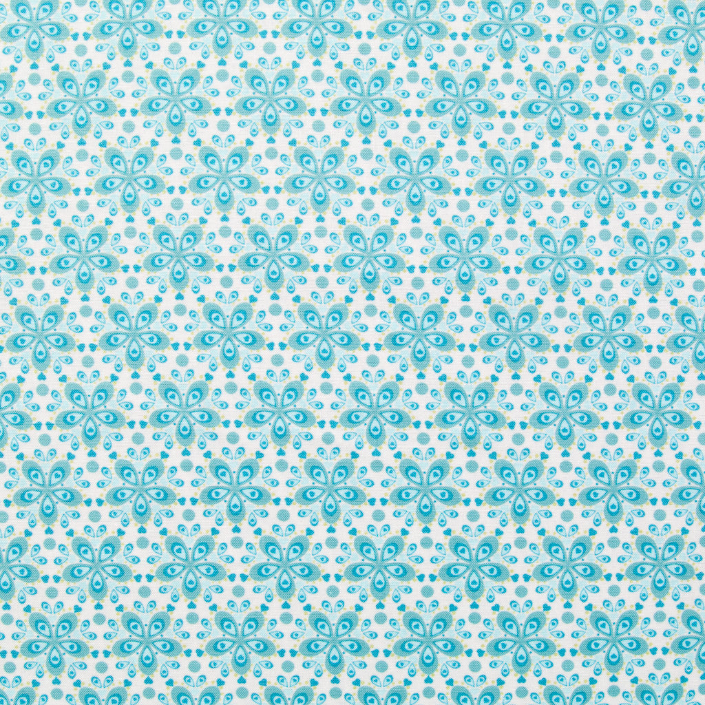 Flora Daisy Chain Blue - Cotton Dressmaking Fabric - by Swafing