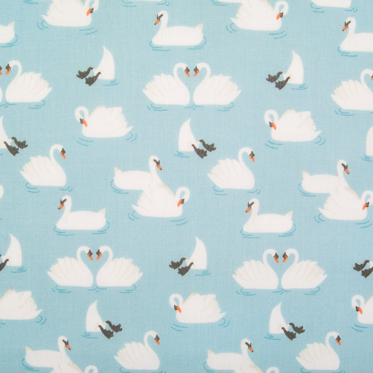Swan on Blue - Polycotton Fabric