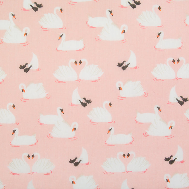 Swan on Pink - Polycotton Fabric
