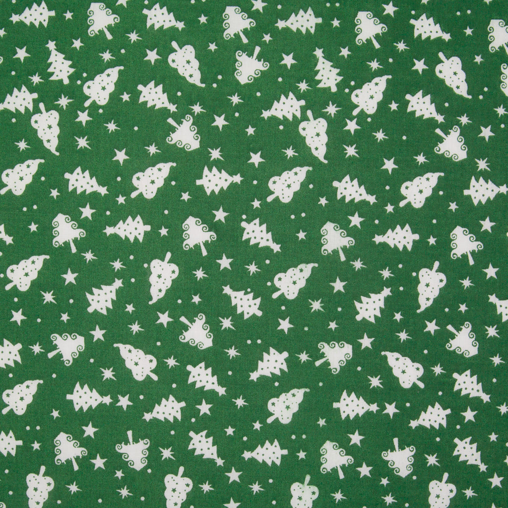 Christmas Trees on Green - Christmas Polycotton