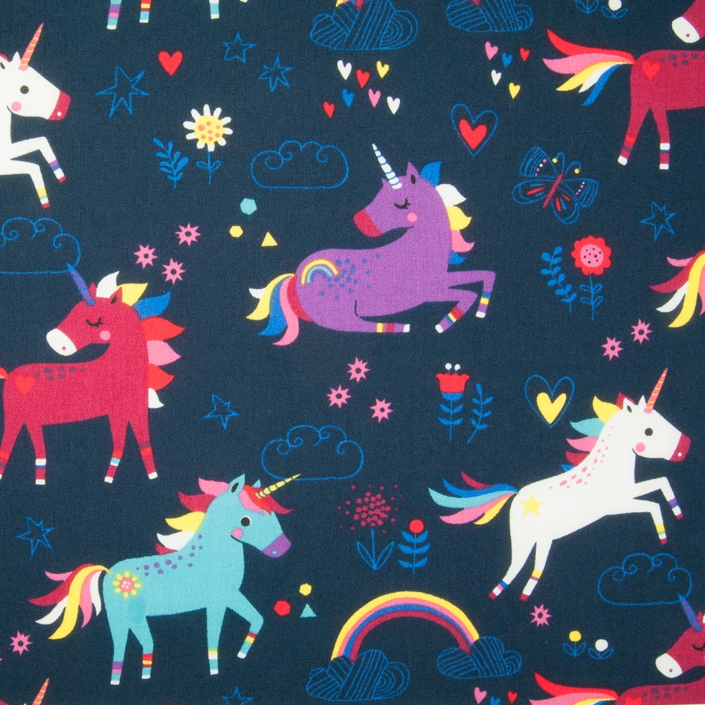 Unicorn & Rainbow on Navy -  100% Cotton Fabric