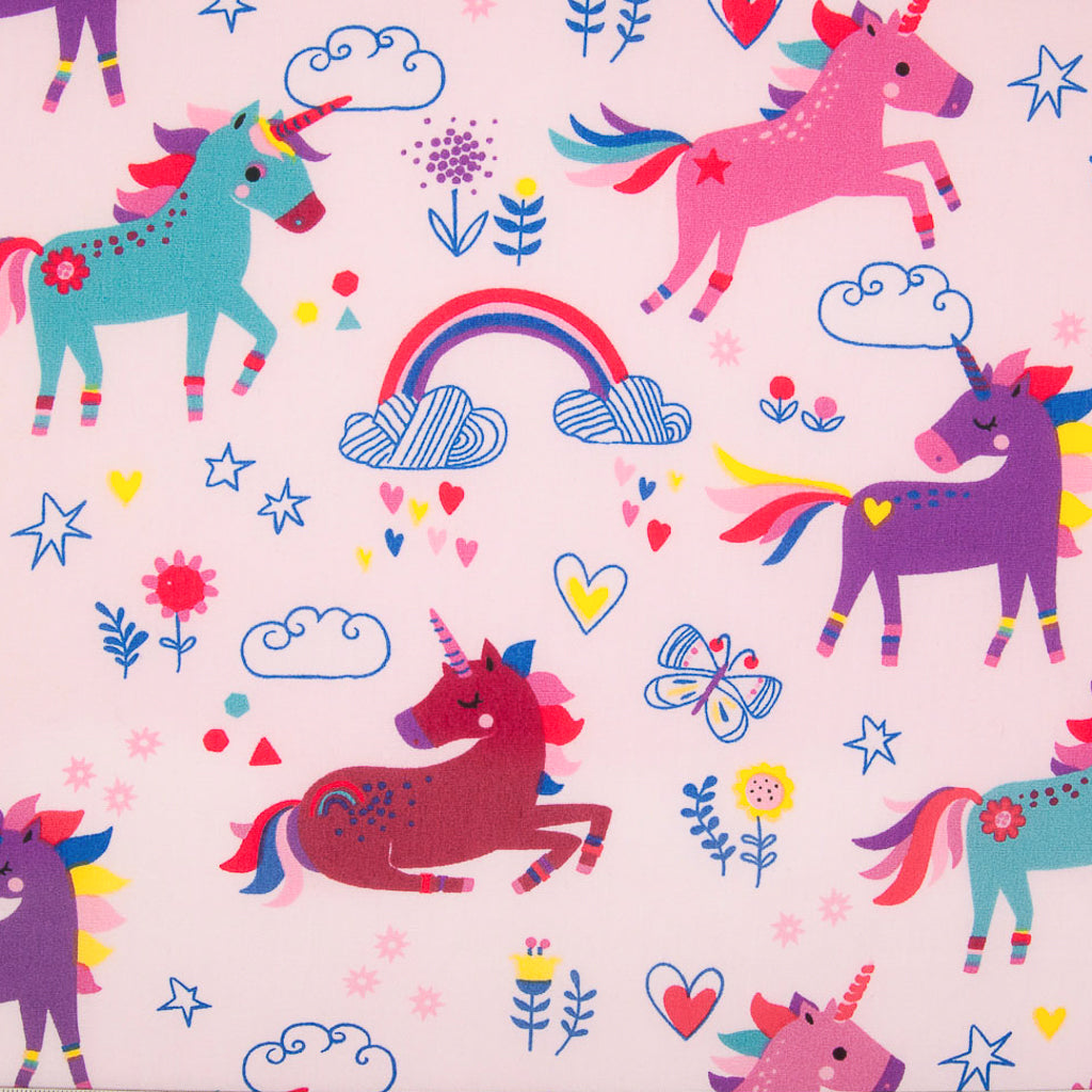 Unicorn & Rainbow on Pink -  100% Cotton Fabric